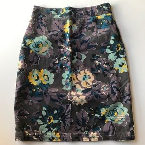 Boden Corduroy Pencil Floral Skirt Midi Lined